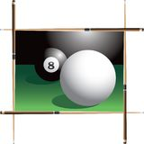 Cue ball eyes eight ball. Pool sticks framing the cue ball heading for the eight ball Royalty Free Stock Photo