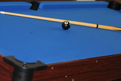 Cue and ball on pool table Royalty Free Stock Photo