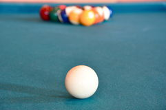 Cue Ball and Rack Stock Image