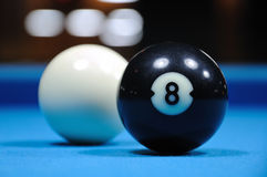 Cue and Black Eight Balls Royalty Free Stock Image