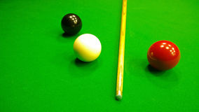 Cue, black, red and white ball to play snooker on the table Royalty Free Stock Photography