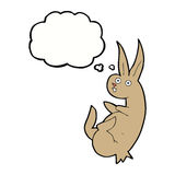 cue cartoon rabbit with thought bubble Stock Images