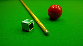 Cue, chalk and snooker ball Stock Photography