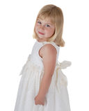 Cue girl in white dress Royalty Free Stock Photo