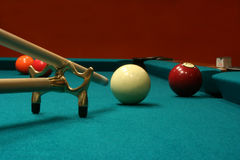 Cue stick and bridge Stock Photography