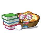 Cuecen al estudiante con gratén del libro en horno de la historieta stock de ilustración