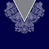 Cuello étnico de dos flores de los colores Frontera decorativa de Paisley imagen de archivo