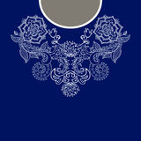 Cuello étnico de dos flores de los colores Frontera decorativa de Paisley stock de ilustración