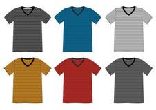 Cuello en v de la camiseta de la plantilla rayado Imagen de archivo
