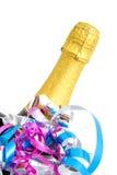 Cuello festivo de la botella del champán Fotografía de archivo