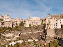 Cuenca. Beautiful city of Spain - Cuenca , panoramic mountain view with with parador on the right Royalty Free Stock Image