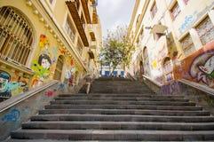 Cuenca Ecuador - April 22, 2015: Charmig konkret trappuppgång med stads- konst- och grafittiförbindande stadsgator royaltyfri foto