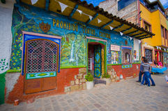 Cuenca, Ecuador - April 22, 2015: Cultural museum and cafe building, very colourful small townhouse Royalty Free Stock Photography