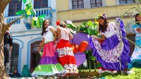 Young beautiful girls dancers from the ecuadorian coast royalty free stock image