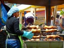 Traditional food of South America - roasted guinea pig, Ecuador stock photography