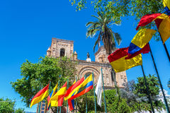 Cuenca, Ecuador Cathedral. Flags waving in front of the cathedral in the historic center of Cuenca, Ecuador Stock Images