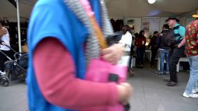 Cuenca, Ecuador - 20181003 - Cuenca Independence Day Festival TimeLapse - Pan Across Outdoor Row of Vendor Tents Fill stock footage