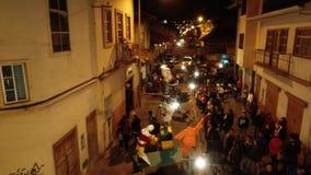 Cuenca, Ecuador - December 31, 2018 - Drone flies along street showing installation art on NYE stock footage