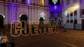 Cuenca, Ecuador - December 31, 2018 - Drone rises, showing Cuenca in outline with people standing inside on New Years Eve. Cuenca, Ecuador - December 31, 2018 stock video
