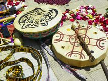 Cuenca, Ecuador. Details of Chacana Chakana or Ceremony in homage to Pachamama Mother Earth royalty free stock photo