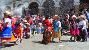 Childrens at Carnival in Cuenca, Ecuador stock photography