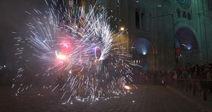Cuenca, Ecuador - 20180602 - Fireworks Castle - Crowd Stands Close As Sparks Fly. stock footage