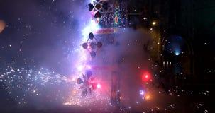 Cuenca, Ecuador - 20180602 - Fireworks Castle - Man Lights Fuse And Runs. stock video