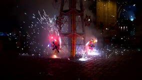 Cuenca, Ecuador - 20180602 - Fireworks Castle - Slow Motion - Pinwheels Throw Long Slow Sparks. stock footage