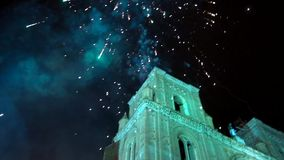 Cuenca, Ecuador - 20180602 - Fireworks Castle - Slow Motion - Rockets Fire Out of Canisters With Pan Up To F stock footage