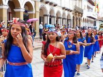 Cuenca, Ecuador. Group of girls teenagers dancers dressed in colorful costumes as amazones royalty free stock photography