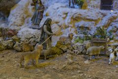 Cuenca, Ecuador - January 3, 2019 - Largest animated nativity scene in South America - shepherd with flock.
