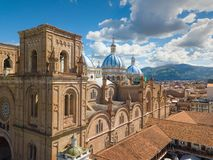 Aerial view Immaculate Conception Cuenca Ecuador. Cuenca Ecuador June 2018 this is the cathedral of the immaculate conception and is the most representative stock photos