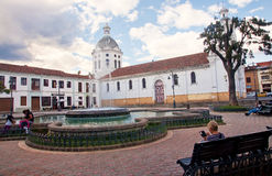 CUENCA, ECUADOR - NOVEMBER 27, 2015: One of the colonial churche stock photography