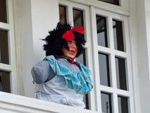 Cuenca, Ecuador Traditionele Monigote, Ledenpop of gevuld dummie gemaakt als vrouw royalty-vrije stock afbeelding
