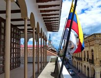 Cuenca, Ecuador. View at street Simon Bolivar and towers of church San Alfonso stock photos
