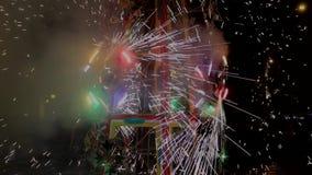 Cuenca, Ecuador - 20180602 - Vuurwerkkasteel - Pan Across Pinwheels met Geluid stock video