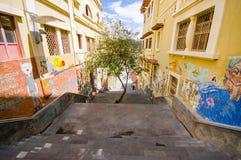 Cuenca Ekwador, Kwiecień, - 22, 2015: Powabny betonowy schody z miastowymi sztuki i graffiti miasta złączonymi ulicami Obrazy Royalty Free