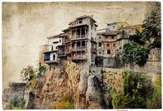 Cuenca - medeltida town av Spanien. Arkivfoton