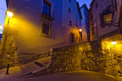 Cuenca Night. Night view of the medieval town of Cuenca, Spain Royalty Free Stock Photography