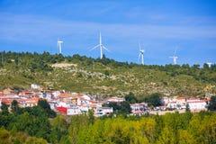 Cuenca San Martin de boniches village with windmills Stock Images