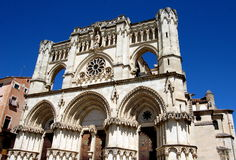 Cuenca, Spain: 13th Century Cathedral. Facade of the 13th century Catedral (cathedral) with French Gothic and Norman architecture along with Renaissance royalty free stock photo