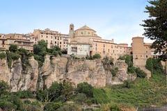 Cuenca stad i morgonen. Castilla-La Mancha, Arkivbilder