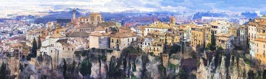 Cuenca - stad op rotsen, Spanje Royalty-vrije Stock Afbeelding