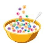 Cuenco amarillo con los cereales en leche libre illustration
