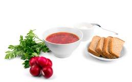Cuenco blanco de la sopa - borsch con el rábano y el pan del perejil Fotos de archivo libres de regalías