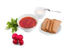 Cuenco blanco de la sopa - borsch con el rábano y el pan del perejil Imagen de archivo