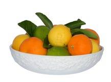 Cuenco blanco de limón, de cales y de mandarines Imagenes de archivo