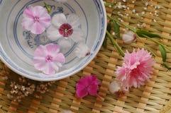 Cuenco con agua de la flor fotografía de archivo