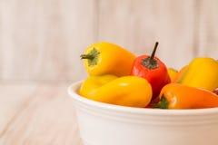 Cuenco con Mini Sweet Bell Peppers colorido Imagenes de archivo