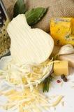 Cuenco con queso rallado y especias Fotos de archivo